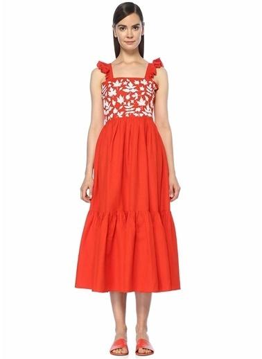 Caroline Constas Plaj Elbisesi Kırmızı